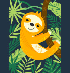 Sloth on branch among tropical plants vector