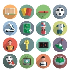 Soccer icons set flat vector image