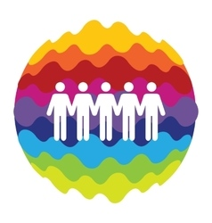 Social Network Rainbow Color Icon for Mobile vector image