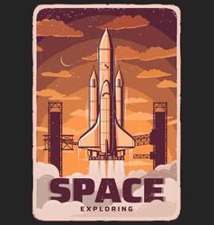 Space exploring rocket take off spaceport vector