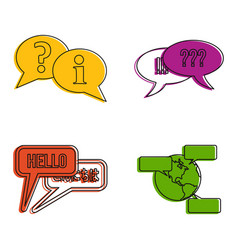 speech icon set color outline style vector image