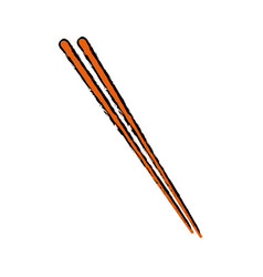 Stick wooden food japanese utensil vector