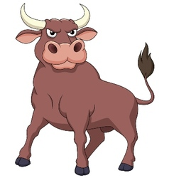 Strong bull cartoon vector image
