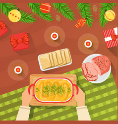 Top view new year and christmas table hands vector