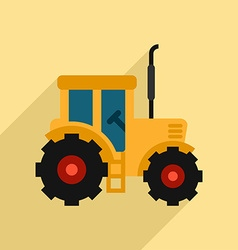 Tractor Icon Design Flat Style with Long Shadow vector
