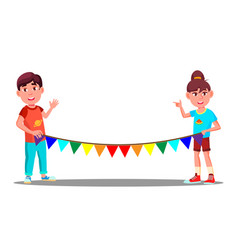Two children holding a rope with colored party vector