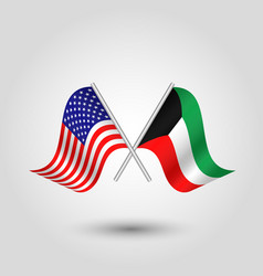Two crossed american and kuwaiti flags vector