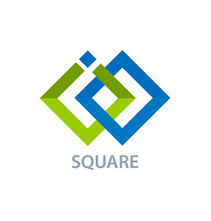 two square line logo concept design symbol vector image