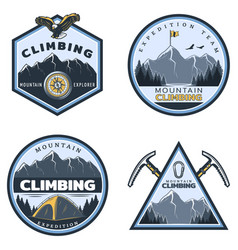 vintage colored mountain climbing emblems set vector image