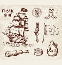 Vintage pirate ship vector