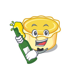 With beer egg tart mascot cartoon vector