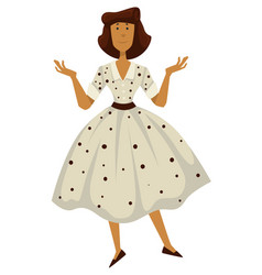 Woman in polkadot dress 1950s fashion style vector