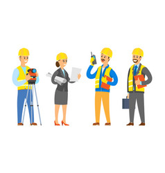 Workers on construction male and female builders vector