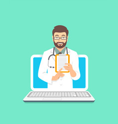 young man doctor online consultation concept vector image