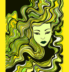 Young woman with green yellow black hair vector