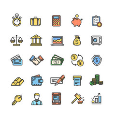 banking and accounting icon color thin line set vector image vector image