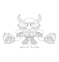 Dwarf with beer mugs contour vector image