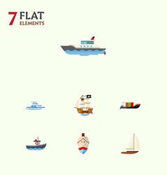 flat icon boat set of tanker vessel transport vector image