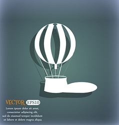 Hot air balloon icon On the blue-green abstract vector image vector image