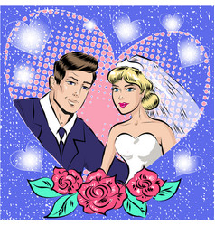 pop art of bride and groom vector image vector image