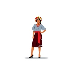 Ukrainian girl in national traditional costume vector image