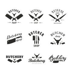 big set of butchery logo templates butchery vector image vector image