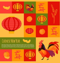 chinese new year icons and buttons set vector image