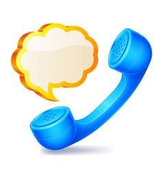 Handset and speech bubble vector image vector image