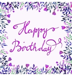 Happy Birthday card Watercolor round frame with vector image vector image