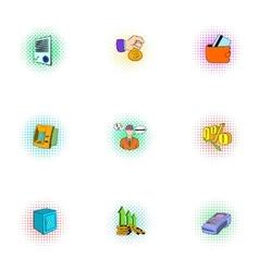 Money icons set pop-art style vector image