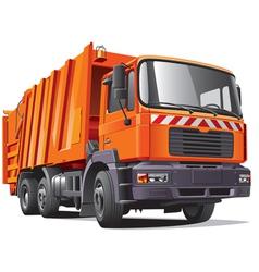 orange garbage truck vector image