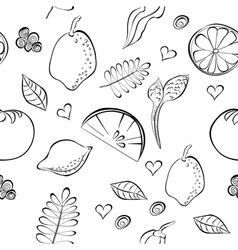seamless pattern with fruit and vegetable vector image vector image