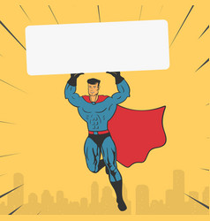 Template super hero holds a banner vector