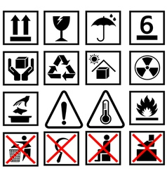warning of packaging symbol vector image vector image