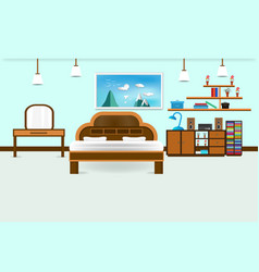 Bedroom interior flat design relax with bed vector