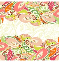 Colourful seamless Indian paisley border vector image