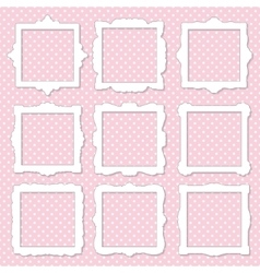 Cute square photo frame set on polka dot vector image
