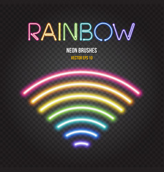 glowing neon lights brushes in rainbow colors vector image