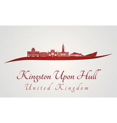 Kingston upon hull skyline in red vector