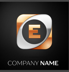 letter e logo symbol in the colorful square on vector image