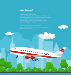 poster airplane flies to the west vector image vector image
