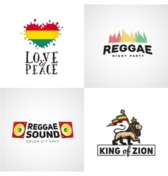 Set of reggae music design Love and peace vector image