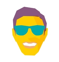 Smiling Male Face With Sunglasses vector image
