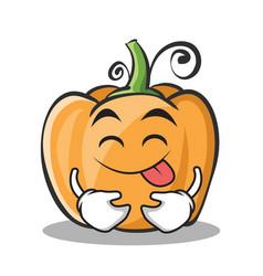 tongue out pumpkin character cartoon style vector image