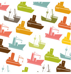 colorful pattern vessel and ship design vector image vector image