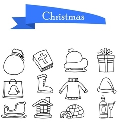 Hand draw of holiday christmas icons vector