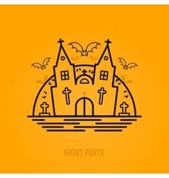 Happy halloween concept with bats moon castle vector image
