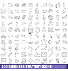 100 business strategy icons set outline style vector