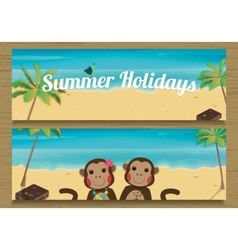 2 Summer Holidays Banner with cute couple Monkeys vector image