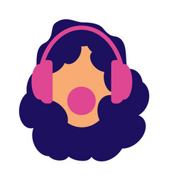 a girl with black curly hair headphones and music vector image